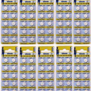 Vinnic LR44 100-pack coin cells